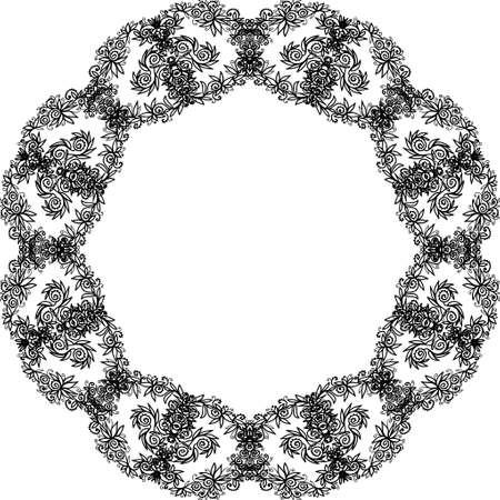 Ornate doodle frame on white background, design element.
