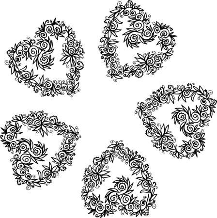 impression: Ornate doodle frame on white background, design element.