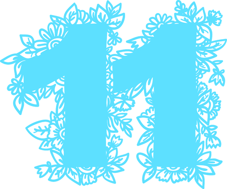 numerology: Number 11 with decorative floral and herbal elements. Vector illustration. Illustration