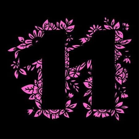 Number 11 with decorative floral and herbal elements. Vector illustration. Illustration