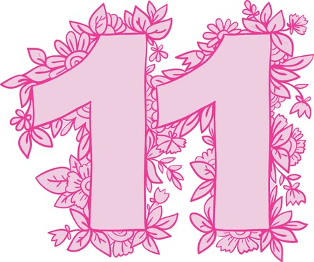 eleventh birthday: Number 11 with decorative floral and herbal elements. Vector illustration. Illustration