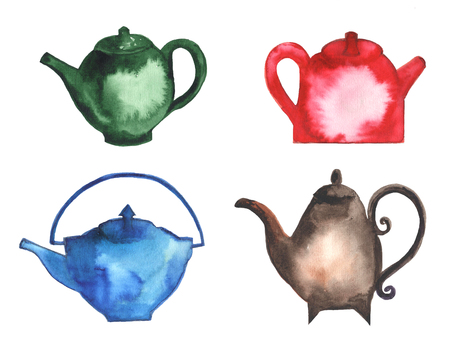kettles: Teapots, cups, Tea kettles in different colors. Watercolor painting Stock Photo