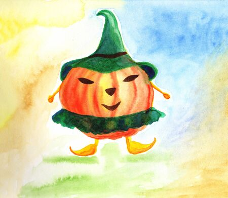 Happy Halloween card with pumpkin on abstract background.