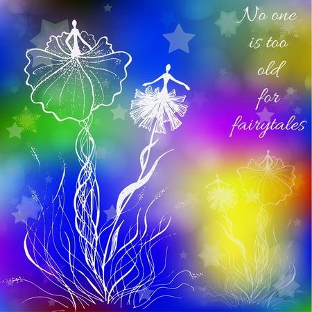 Decorative colorful background with abstract elements and quote. Illustration