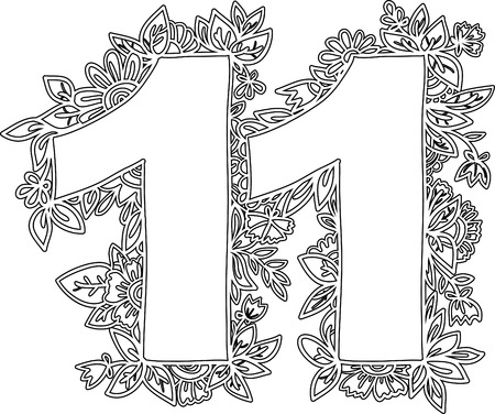 eleventh birthday: Number 11 with decorative floral and herbal elements. Illustration