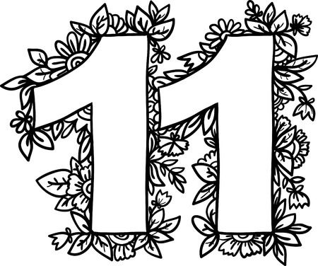 numerology: Number 11 with decorative floral and herbal elements. Illustration