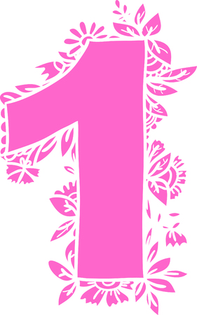 numerology: Number 1 with decorative floral and herbal elements.