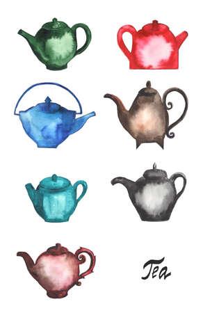 kettles: Teteras, vasos, teteras de t� en diferentes colores. Pintura de acuarela