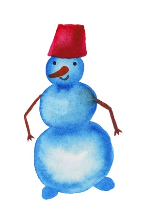 coniferous: Snowman isolated on white background, watercolor illustration Stock Photo