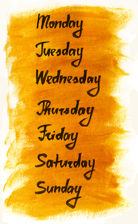 week: Days of the week ink calligraphic lettering
