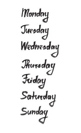 days: Days of the week ink calligraphic lettering