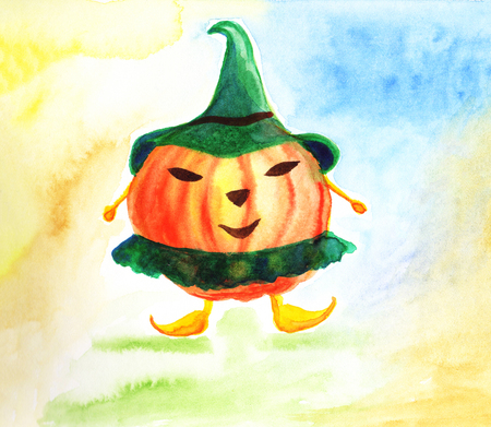 Happy Halloween card with pumpkin on abstract background.  Illustration.