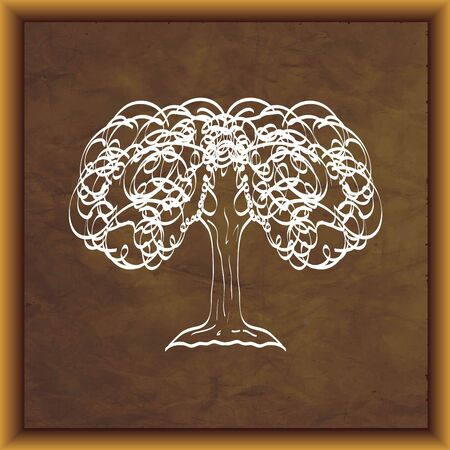 Hand drawn white tree silhouette on aged paper texture