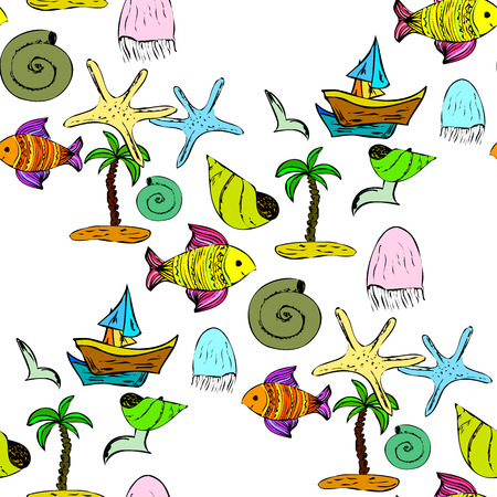 Seamless decorative pattern with sea shells and fish.