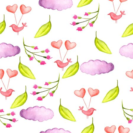 wrapper: Seamless pattern watercolor flowers, paper, textile, fabric wrapper wallpaper Illustration