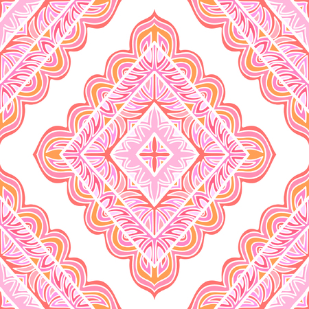 Seamless colorful pattern with rhombuses. Stylized decorative shapes. Illustration