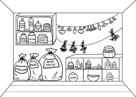 食べ物や飲み物と漫画パントリー。