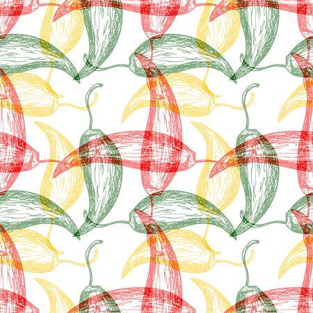 sharpness: Seamless pattern with hot chilli pepper design Illustration