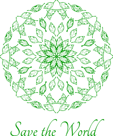environmentalist: Decorative save the world design with herbal ornament