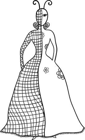 sketched shapes: Hand drawn fashion girl portrait,  illustration. Illustration