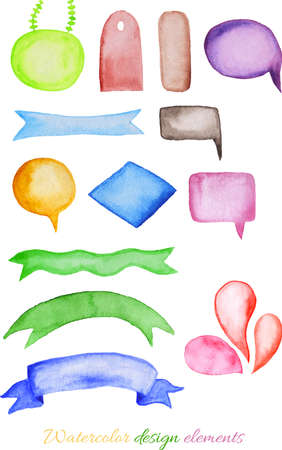 Collection of hand drawn ibbons, pennants, bows, illustration