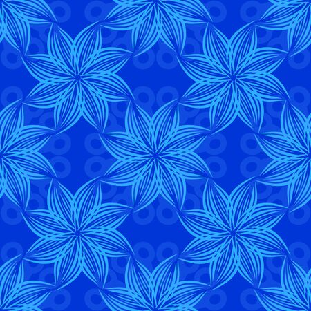 Seamless background. Abstract pattern with blue snowflakes.