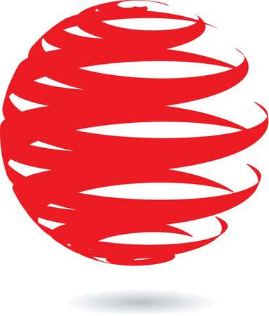 red sphere: Abstract design element. Red sphere. Illustration