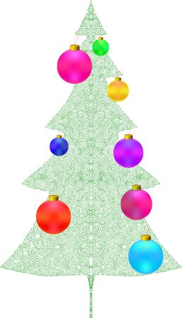 Christmas tree. New year card design template.