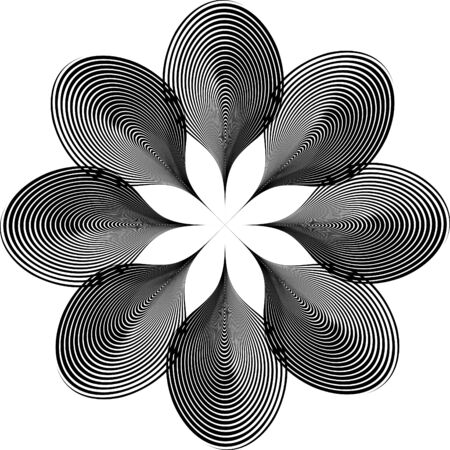Stylized striped shape of lines, design element.