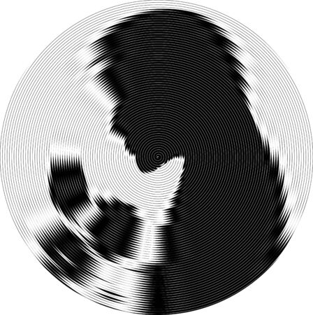 Abstract background with black and white stripes, design element. Woman silhouette in circle.