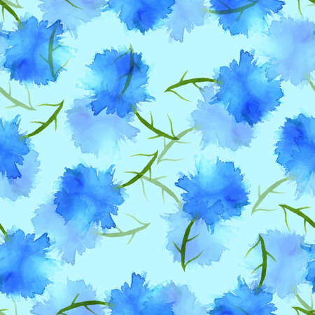 Seamless pattern watercolor flowers, paper, textile, fabric wrapper wallpaper Illustration