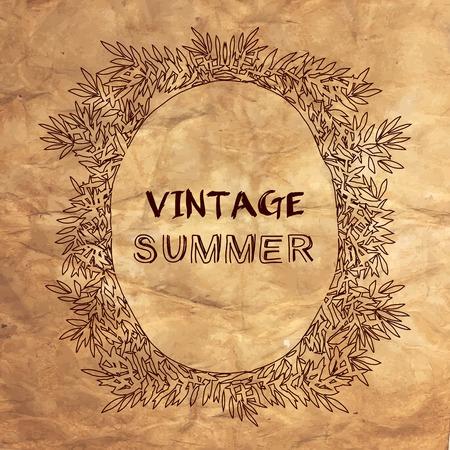 vintage postcard: Vintage summer postcard. illustration on aged crumpled paper texture.