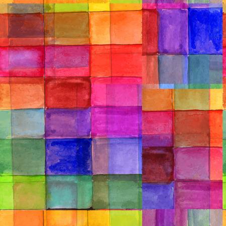 虹色の水彩画のセルと抽象的なシームレス パターン。  イラスト・ベクター素材