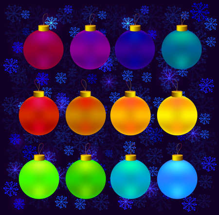 Colorful christmas balls. Set of realistic decorations. Balls for the Christmas tree