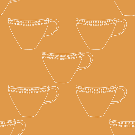 Seamless pattern with colorful hand drawn tea cups. Illustration