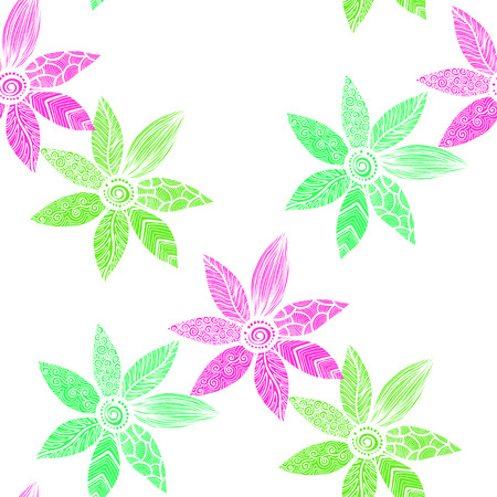 Seamless pattern watercolor flowers, paper, textile, fabric wrapper wallpapervector Illustration