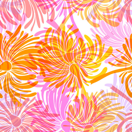 orange roses: Seamless background with stylized floral and herbal motifs.