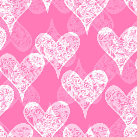 Seamless colorful pattern with hearts. Valentines day background. Illustration