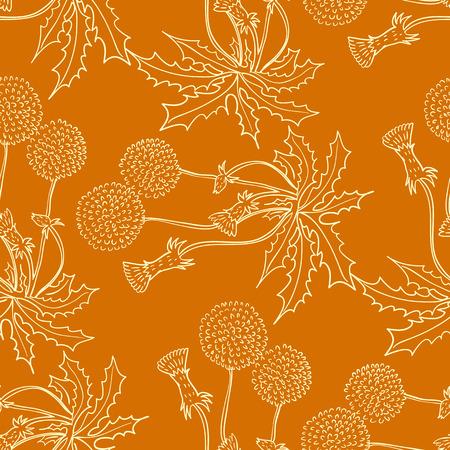 定型化された花やハーブをモチーフにしたシームレスな背景は。