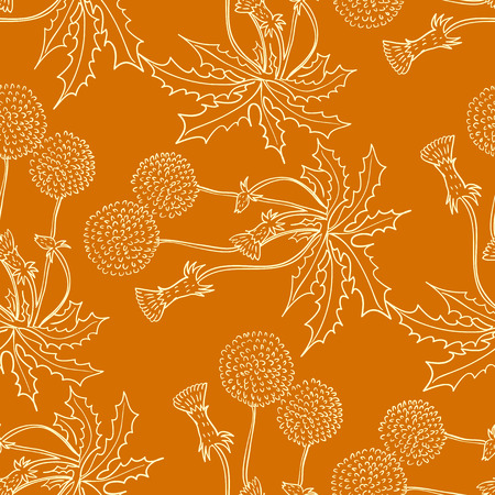 Seamless background with stylized floral and herbal motifs.