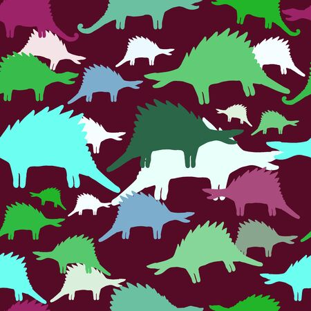 Vector abstract seamless pattern with hand drawn animals