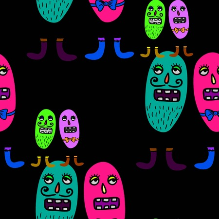 infectious disease: Seamless vector repeatable pattern with cute microbes.