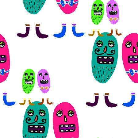 ameba: Seamless vector repeatable pattern with cute microbes.