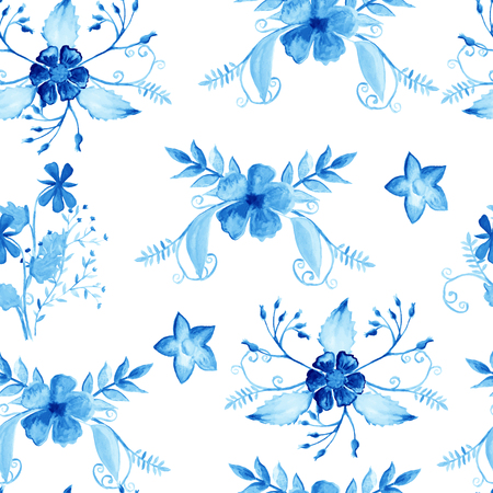 wrapper: Seamless pattern watercolor flowers, paper, textile, fabric wrapper wallpaper vector