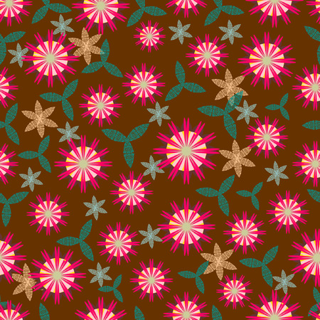 paint swatch: Seamless background with stylized floral and herbal motifs.