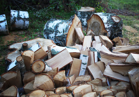 firewood: Firewood background - chopped firewood on a stack