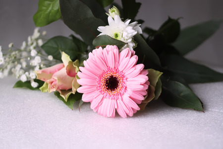 Bouquet of fresh flowers with a pink gerbera and rose Stock Photo