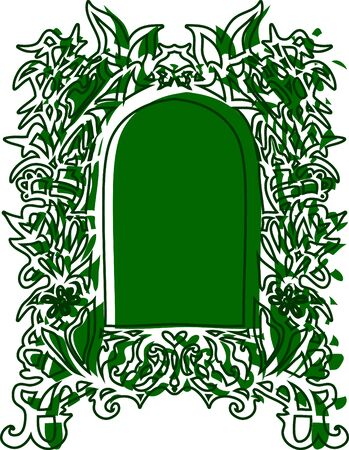 Hand drawn vector illustration. Vintage frame with curly decorative motifs.