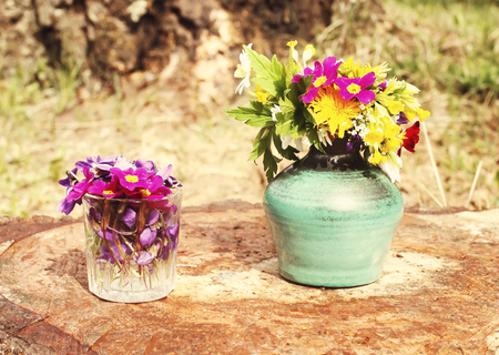 Bright little bouquet of spring fresh flowers Stock Photo