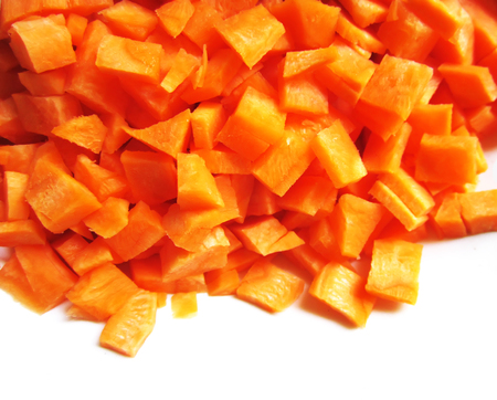 Close up of carrot and potatoes. Colorful raw vegetables.